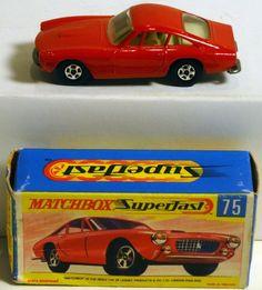 Lesney Matchbox Transitional Superfast 75A Dark Red Ferrari Berlinetta NIOB