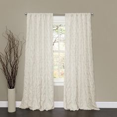 Lush Decor Lake Como Ivory 84-inch Curtain Panel (Ivory), Size 50 x 84 (Polyester, Novelty)