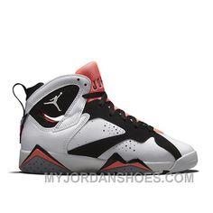 sale retailer b469e 28880 Authentic 442960-106 Air Jordan 7 Retro Girls White Black-Hot Lava-Wolf Grey  4jGDP