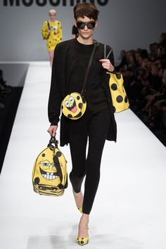 Jeremy Scott, the new head designer of Italian fashion house Moschino, debuted his Fall 2014 runway collection Thursday night at Milan Fashion week. News Fashion, Fashion Week, Runway Fashion, Winter Fashion, Fashion Show, Fashion Outfits, Fashion Design, Fashion Trends, Review Fashion