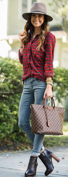 Red Plaid On Jeans Fall Inspo by Sequins & Things