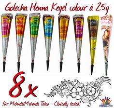 10x Golecha Henna Farben/Multicolour Kegel á 25g Hennapaste - Klinisch getestet! | eBay