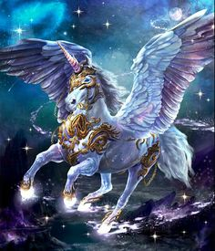 """Winged Unicorn with gold armor """"Galactic Pegasus"""" Mythical Creatures Art, Mythological Creatures, Magical Creatures, Fantasy Creatures, Unicorn Fantasy, Unicorn Art, Fantasy Art, Horse Drawings, Animal Drawings"""