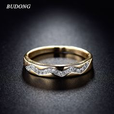 Fashion Lady Ring Valentines Day 2017 Gold  Plated Ring Vintage Crystal Cubic Zirconia Wedding Rings Jewelry xuR235