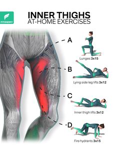 INNER THIGH WORKOUTS Looking to tone up or slim down your inner thighs?These are the go-to inner thigh exercises which can also help prevent injury and muscle imbalances. Give it a try with only 4 workouts. Gym Workout Videos, Gym Workout For Beginners, Fitness Workout For Women, P90x Workout, Workout Schedule, Thigh Workouts At Home, Inner Thigh Muscle, Thigh Muscles, Thigh Exercises