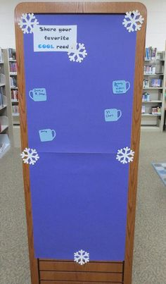 Patron Interaction for Chill Out with a cool read and a hot cocoa display.  Share your cool read on a mug.