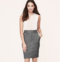 """Petite Curvy Fit Trouser Pencil Skirt - Especially designed to flatter curves with a more fitted waist and perfectly placed seaming, pencil in this anytime-perfect piece -- outfitted with smart trouser details and a stretch knit texture. Zip fly with hook and bar closure. Belt loops. Slash pockets. Back vent. Lined. 20"""" long."""