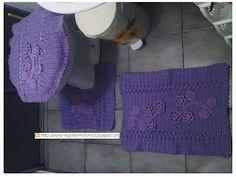 Ponto a ponto e, pronto!: Jogo de croche para banheiro, com flor aplicada + gráfico