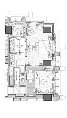 Modern Architecture House, Architecture Plan, Plano Hotel, Hotel Floor Plan, Architectural Floor Plans, Modern Floor Plans, Hotel Concept, Hotel Room Design, Apartment Plans