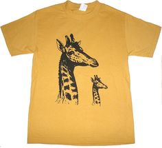 Giraffes Father and Son On Gold T Shirt s m l xl xxl by lastearth - StyleSays