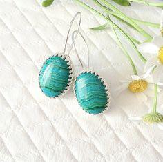Sterling Silver Oval Chrysocolla Earrings - Green and Blue Stone Chrysocolla Earrings - Gemstone Earrings