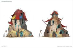 I like the way the cloth awnings simulate the swooping of Asian rooftops    Fable 3 Concept Art by Emrah Elmasli