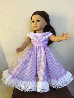 Lavender gingham double lace trim at hem. by jobasicreations@aol.com
