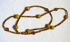 Shades of Coffee, Topaz and Caramel Givre Glass Bead and Crystal Necklace
