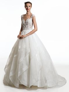 Rustic Country Weddings jillian 2019 bridal cap sleeves sweetheart neckline heavily embellished bodice layered skirt sheer button back chapel train mv -- Jillian 2019 Wedding Dresses Country Wedding Dresses, Bridal Wedding Dresses, Bridal Style, Country Weddings, Beautiful Gowns, Beautiful Bride, Burlap Wedding Decorations, Wedding Dress Patterns, Bridal Collection