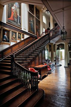 Stair hall, Badminton House, Gloucestershire.