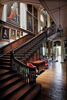 Stair hall, Badminton House, Gloucestershire.
