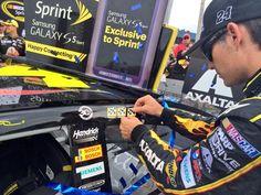.@JeffGordonWeb's 3rd @NASCAR Sprint Cup Series win sticker of the season looks good on that No. 24 machine! ;) -KC pic. (Twitter: Miss Sprint Cup @MissSprintCup)