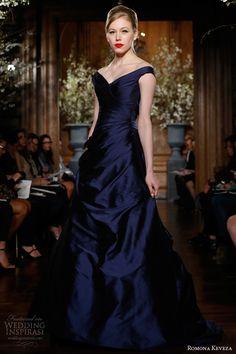 romona keveza fw 2013 2014 sapphire off the shoulder gown silk shantung taffeta v neckline draped skirt
