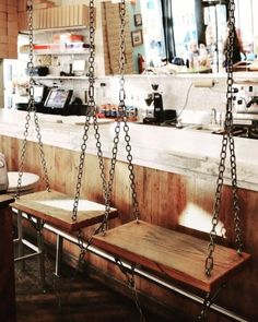 Sweet swing seats at Molly's Cupcakes in Chicago #swing #wood #swingseats #cupcakes
