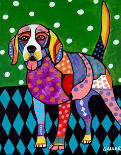 Beagle art Art Print Poster by Heather Galler