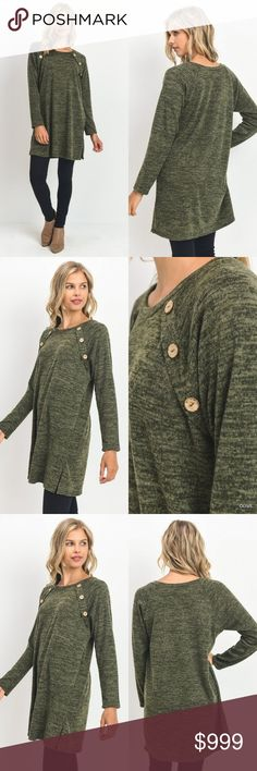 Olive Sweater Tunic Top 3 Button Detail We love that tunics are in style. We used to wear them just to cover our butts ...   Olive Sweater Tunic Top 3 Button Detail Fall Relaxed Fit  Features:  poly/spandex 96/4 relaxed fit tunic length hand wash  Measurements, laying flat (inches):  Bust:  18.5 Small, 20 Med, 21 Large Length: 30, 31.5, 33 Sofi + Sebastien Sweaters
