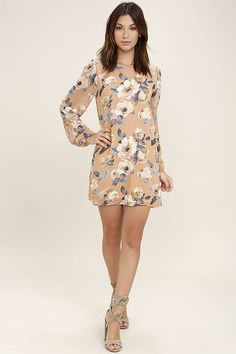 Get ready for a stylish new beginning in the This Time Around Blush Floral Print Long Sleeve Shift Dress! Blush chiffon with an allover green, white and yellow floral print forms a rounded neckline above a roomy shift silhouette. Sheer long sleeves have buttoned cuffs.