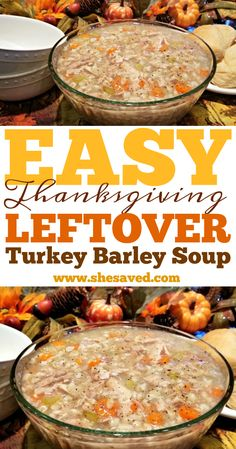 Looking for a great soup to make with Thanksgiving leftover turkey? This EASY Turkey Barley Soup recipe is a great way to use your leftover turkey! Leftover Turkey Soup, Turkey Leftovers, Beef Barley, Thanksgiving Soups, Thanksgiving Leftover Recipes, Soup Recipes, Healthy Recipes, Leftovers Recipes
