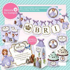 Kit imprimible personalizado princesa Sofía blanco y lila