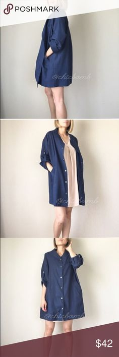 """Anna button down jacket. HOST PICK for Jet-Set style party. London fog style navy jacket. Versatile look; casual and professional depending if u dress up or dress it down.  Adjustable sleeve roll up button. Pockets.Well made 100% thick cotton . S- length 34"""", bust : 50"""" w:50"""" m:34"""",51"""",51"""". Size L: 35"""",52,52"""".  Get ready for fabulous fall CHICBOMB Jackets & Coats Utility Jackets"""