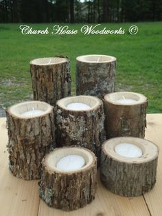 7 Rustic wood candle holders sticks for votive candles, weddings, decoration, decor, natural tree branch, log candle holders by ChurchHouseWoodworks on Etsy