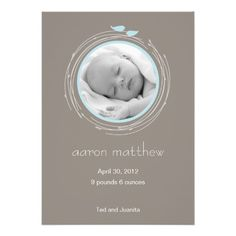 Abstract Nest Personalized Invite! Make your own invites more personal to celebrate the arrival of a new baby. Just add your photos and words to this great design.