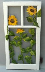 "No. KM022011 Sunflowers on Reclaimed Window  17.5"" W x 34"" H  (Available through GreenLife Gallery)"