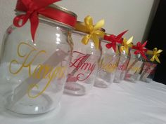 Personalized custom mason cup W/ lid straw & bow by Customforless, $8.00 Monogrammed Glasses, Wine Glass, Bow, Table Decorations, Unique Jewelry, Tableware, Handmade Gifts, Vintage, Etsy