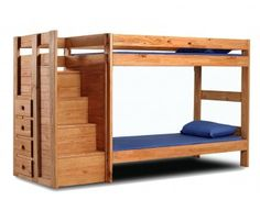 Chelsea Home Furniture 31123 Twin Over Twin Staircase Bunk Bed Mahogany Stain Full Size Bunk Beds, Bunk Beds With Drawers, Bunk Beds With Stairs, Cool Bunk Beds, Twin Bunk Beds, Kids Bunk Beds, Twin Twin, Loft Beds, Small Spaces
