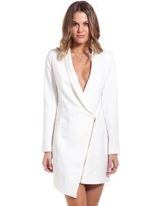 White Long Sleeve Asymmetric Zipper Blazer 32.79