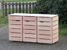 3er Mülltonnenbox aus Holz, für 120 L + 240 L Tonnen, Farbe: Douglasie Natur
