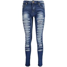 Boohoo Evie Low Rise Slashed Leg Skinny Jeans ($44) ❤ liked on Polyvore