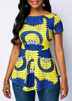 Boat Neck Printed Short Sleeve Blouse Source by The post Boat Neck Printed Short Sleeve Blouse – African Fashion Dresses appeared first on 2019 Trends. African Fashion Designers, African Fashion Ankara, Latest African Fashion Dresses, African Dresses For Women, African Print Fashion, Africa Fashion, African Attire, African Print Top, African Women