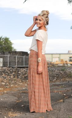 Maxi, crop top, and top knot