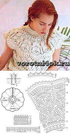 Photo from album Дуплет on – Artofit Crochet Collar Pattern, Col Crochet, Crochet Motifs, Crochet Diagram, Crochet Blouse, Crochet Chart, Irish Crochet, Crochet Stitches, Handmade Skirts