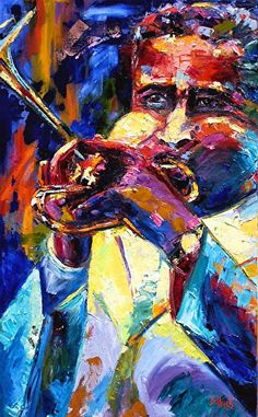 "Portrait Artists International: Colorful Abstract Jazz Art Music Painting""Dizzy"" by Texas Artist Debra Hurd Music Painting, Art Music, Colorful Paintings, Contemporary Paintings, Tracing Art, African Artwork, Jazz Art, Soul Art, Abstract Portrait"