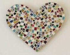Tenture murale coeur mosaïque par JoJoMosaic sur Etsy