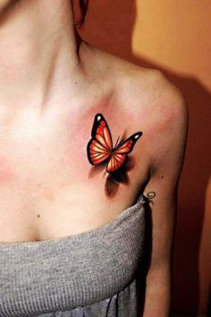 Hot Red Butterfly 3D Tattoos for Girls