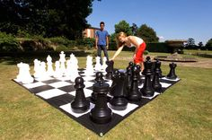 Giant outdoor chess game.