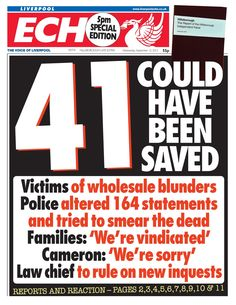 The Liverpool ECHO late edition after the Hillsborough Report had been published