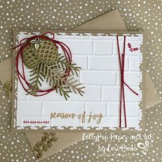 Stampin' Up! Holiday Card with Pretty Pines Thinlits and Christmas Pines Stamp Set.