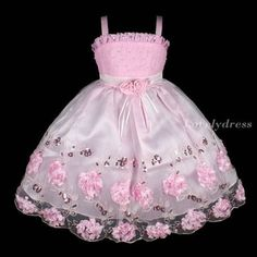 New Flower Girl Princess Brithday Wedding Pageant Party Dress Set Pink Sz 7 Q245 | eBay