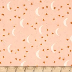 Art Gallery Lambkin Keeping Watch Mist from Designed by Bonnie Christine for Art Gallery, this cotton print fabric features a starry night and is perfect for quilting, apparel and home decor accents. Colors include white, seafoam, rust and pink. Pink Fabric, Fabric Art, Fabric Flowers, Fabric Design, Pattern Design, Andover Fabrics, Thing 1, Black And White Fabric, Art Gallery Fabrics