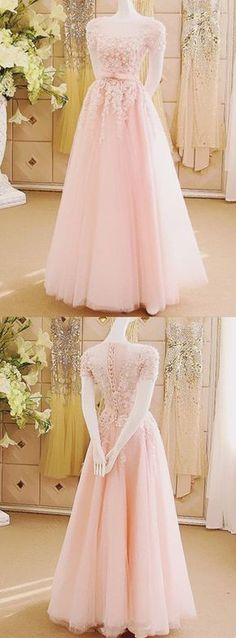 Charming Prom Dress,Appliques Tulle Prom Gown,Sexy Prom Dresses,Long